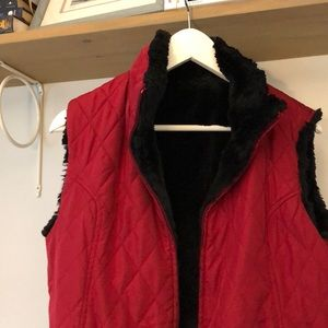 Women's Reversible Red Quilted and Black Fur Vest